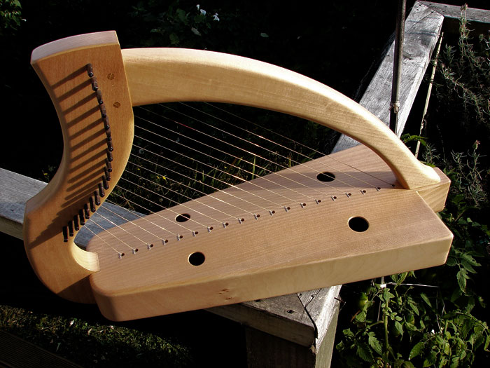 Irish/Scottish medieval clarsach - these harps were metal strung, hence the sturdy build. Ardival harps (William Taylor), 2006.