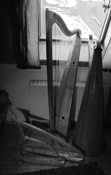 My harps, 2002. Bottom left to top right: Medieval harpa doblada, Gothic harp, Italian baroque triple harp, Spanish baroque cross strung harp.