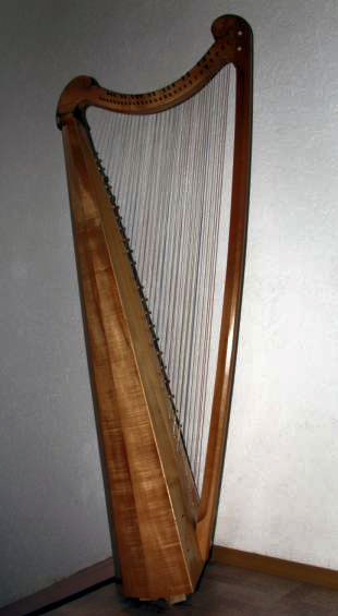 Spanish baroque cross strung harp. Tim Hobrough, 1990.